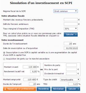 Simulation d un investissement en SCPI 2