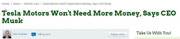 Tesla Wont Need More Money