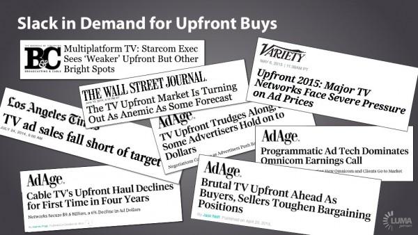 Lack of demand Upfronts