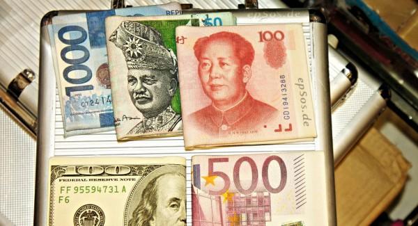 Panier de devises. Image d'illustration